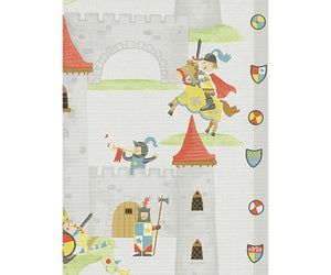 Horse Castle Stripes Grey Red Blue 7327-10 Wallpaper