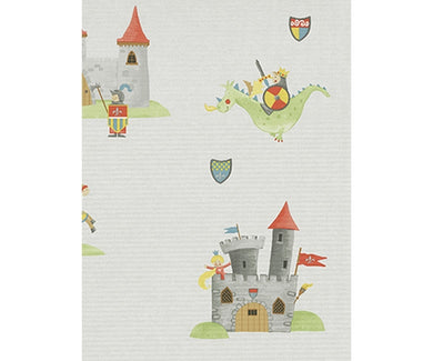 Horse Castle Flags Red Green Grey 7328-10 Wallpaper