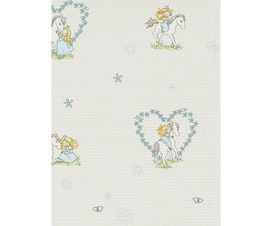 Girl Horse Love Grey Blue 7329-08 Wallpaper