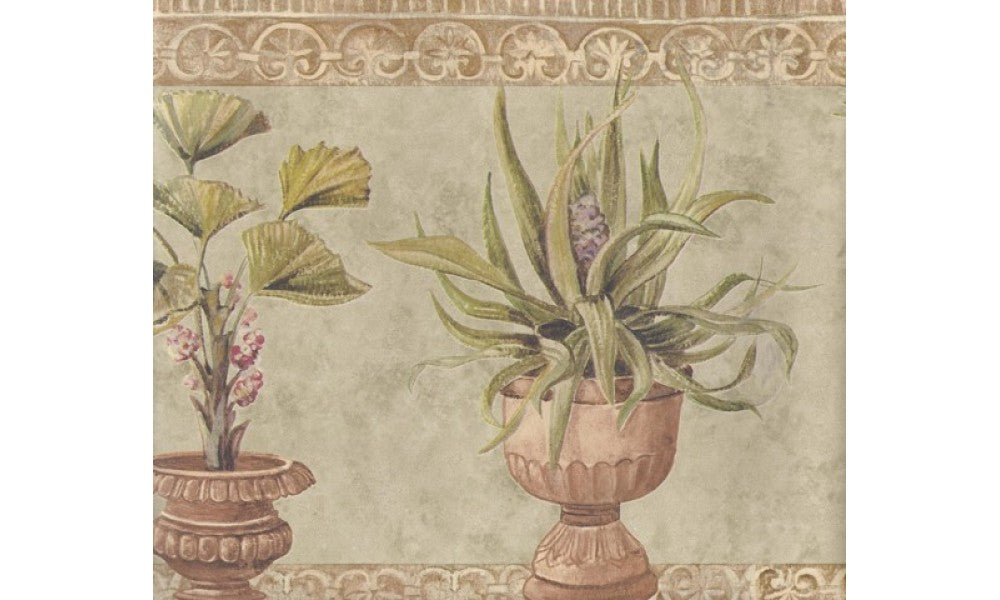 Brown Stone Green Plants TK6313 Wallpaper Border