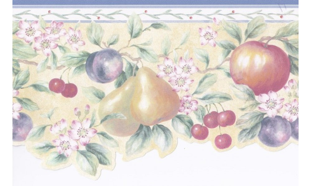 Blue White Fruits Pink Floral PKB1276 Wallpaper Border