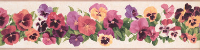 York Wallcoverings Kitchen and Bath Pansy, KH7009BD Wallpaper Border