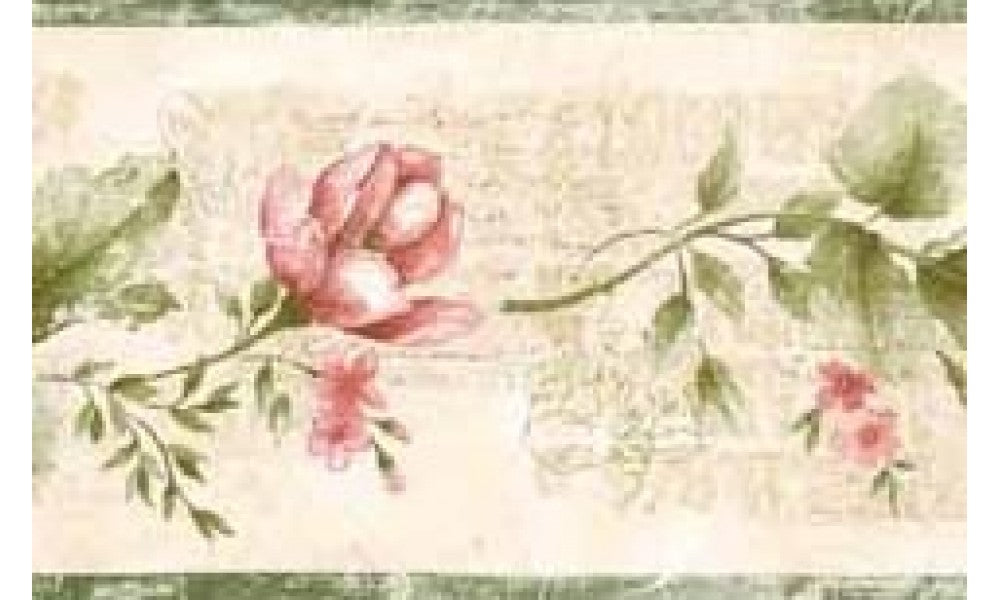 Green Red Rose ES2130 Wallpaper Border