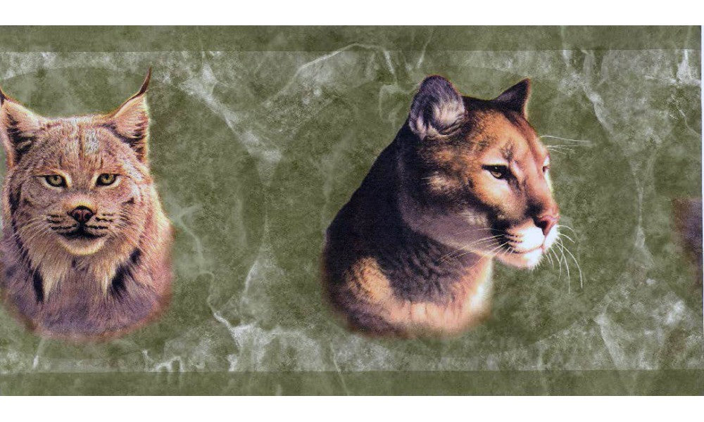 Green Wild Cats HB112174 Wallpaper Border