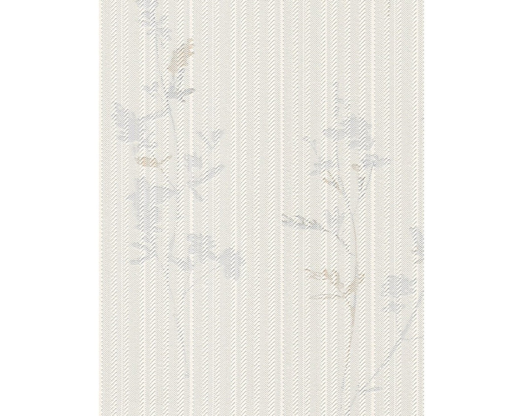Slashed Stripes Floral Motifs White Grey 933317 Wallpaper
