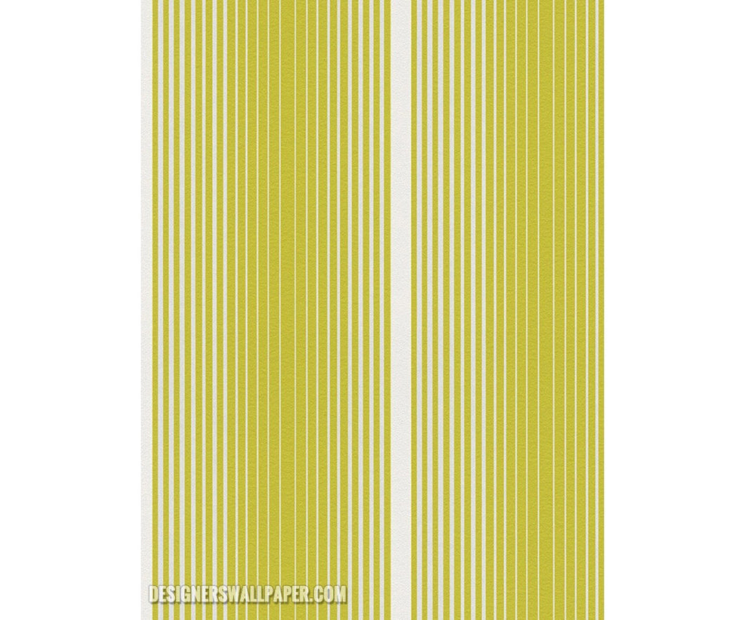 Graphic Stripes Lemon Green Metallic 944221 Wallpaper