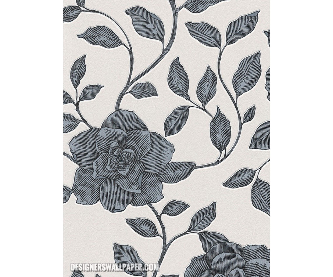 Rose Floral Scroll Grey White Metallic 945112 Wallpaper