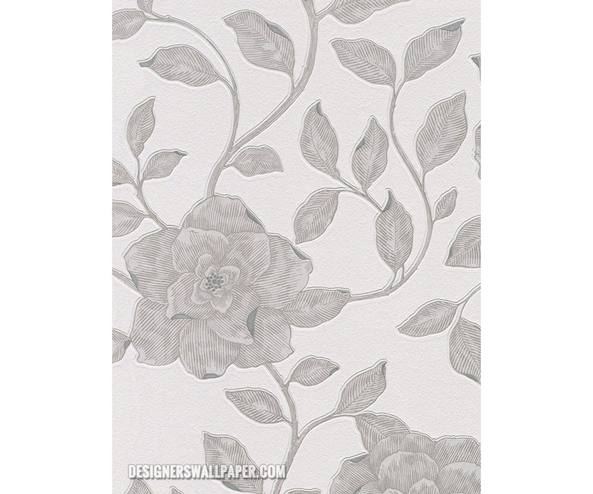 Rose Floral Scroll Grey Metallic 945129 Wallpaper