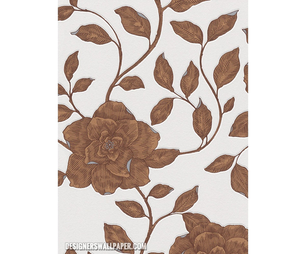 Rose Floral Scroll Brown Grey Metallic 945136 Wallpaper
