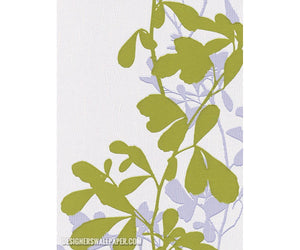 Leaves Trail Wavy Stripes Green White 946713 Wallpaper
