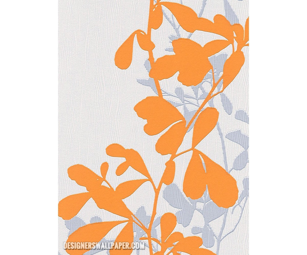 Leaves Trail Wavy Stripes Orange White 946720 Wallpaper