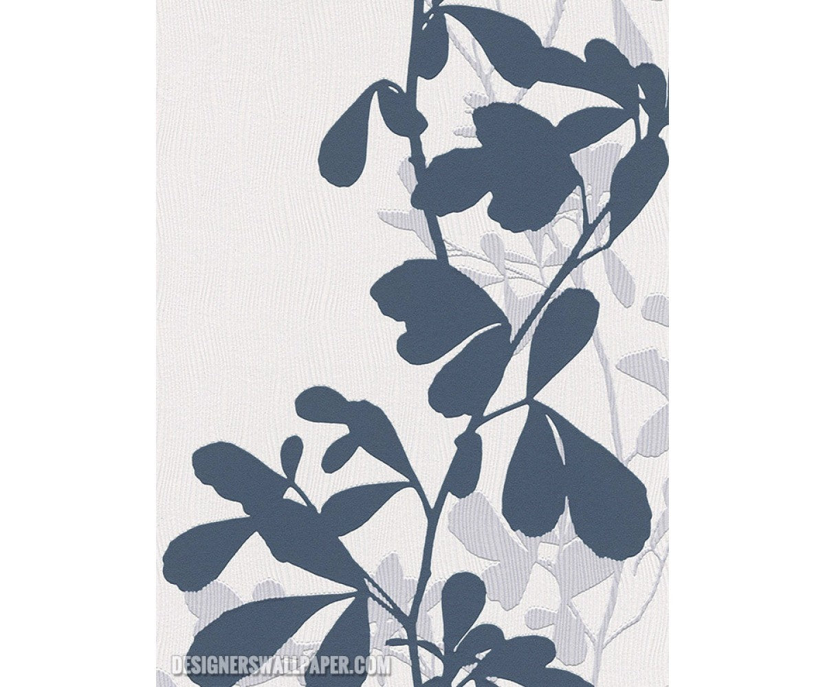 Leaves Trail Wavy Stripes Blue White 946737 Wallpaper