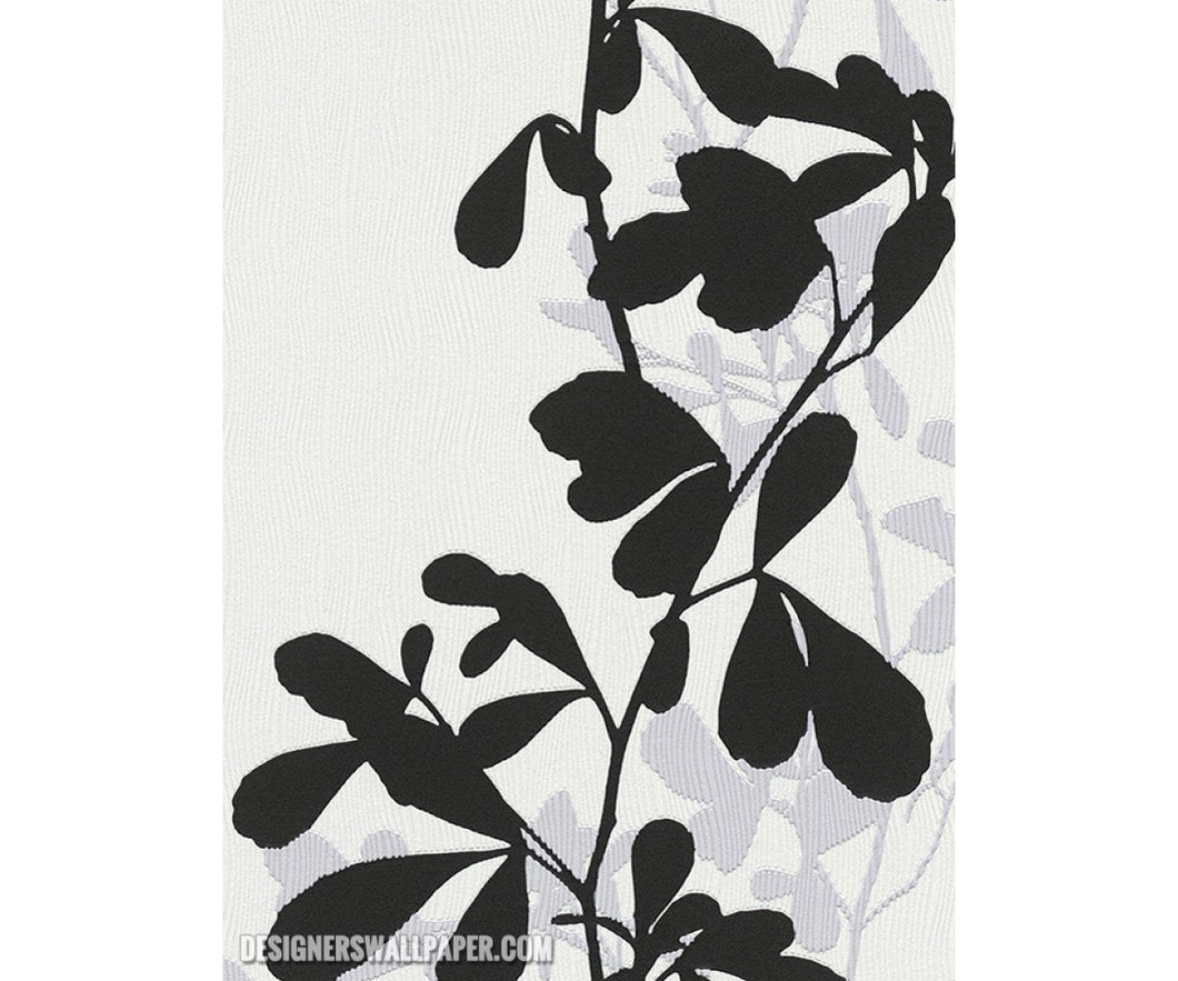 Leaves Trail Wavy Stripes Black White 946744 Wallpaper