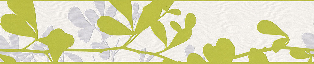Leaves Trail Wavy Green White 947413 Wallpaper Border