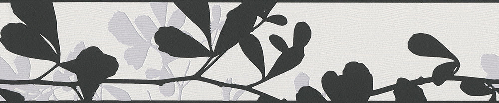 Leaves Trail Wavy Black White 947444 Wallpaper Border