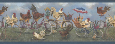 White Roosters Brown Hens on Bikes Vintage FFM1009B Wallpaper Border