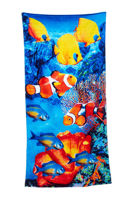 Fish Festival Velour Beach Towel