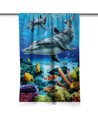 Dolphins Life Blue Velour Beach Towel