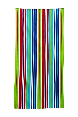 Colorful Stripes Velour Beach Towel