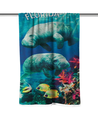 Florida Manatees Velour Beach Towel