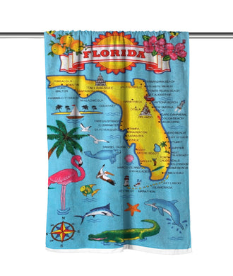 Florida Map Velour Beach Towel