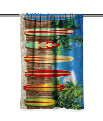 Surf Boards Velour Beach Towel