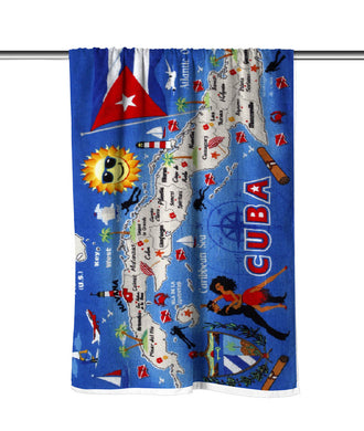 Cuba Map Velour Beach Towel