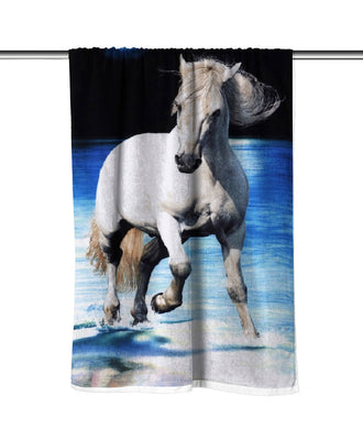 White Horse Velour Beach Towel