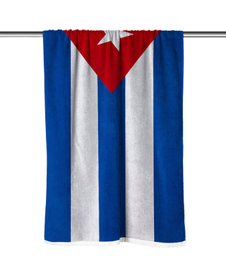 Cuba Flag Velour Beach Towel