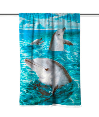 Dolphins III Velour Beach Towel