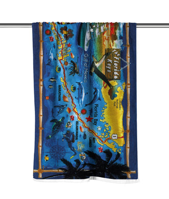 Florida Keys Map Velour Beach Towel