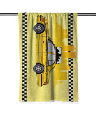 New York City Taxi Velour Beach Towel