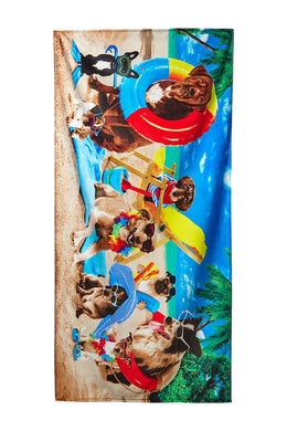 Dogs At The Beach Velour Beach Towel