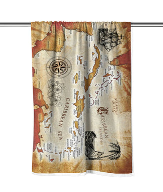 Caribbean Sea Map Velour Beach Towel