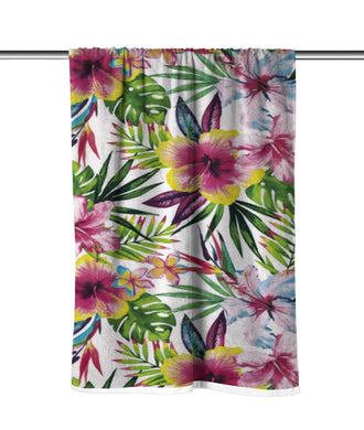 Tropical Hibiscus Velour Beach Towel