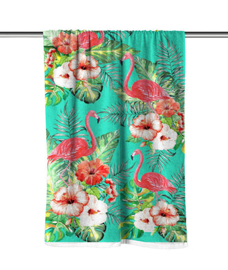 Flamingos & Flowers Velour Beach Towel