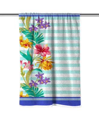 Floral Stripes Velour Beach Towel