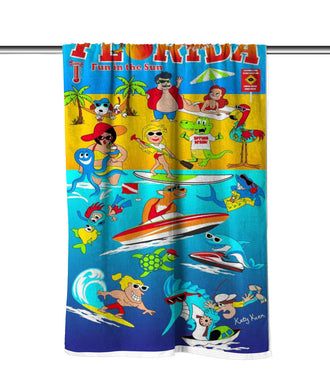 Florida Fun In The Sun Velour Beach Towel