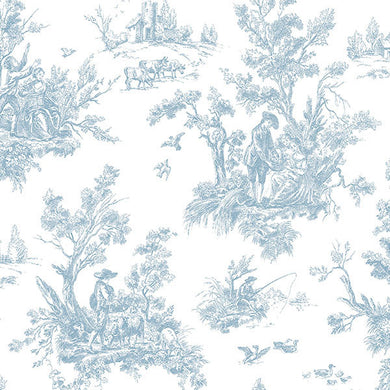 Blue White Old Fashioned Toile AB27656 Wallpaper