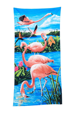 Flamingos & Lake Velour Beach Towel