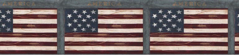 Americana American Flags WK74773 Wallpaper Border