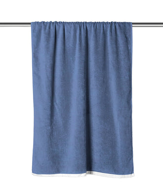 Denim Blue Solid Velour Extra Long Beach Towel