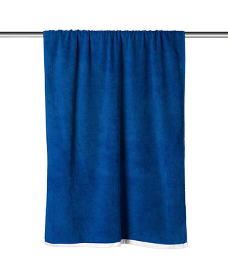 Blue Solid Velour Extra Long Beach Towel