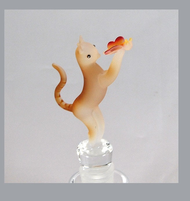 Opaque Brown Cat w/ Butterfly Hand Crafted Bottle Stopper