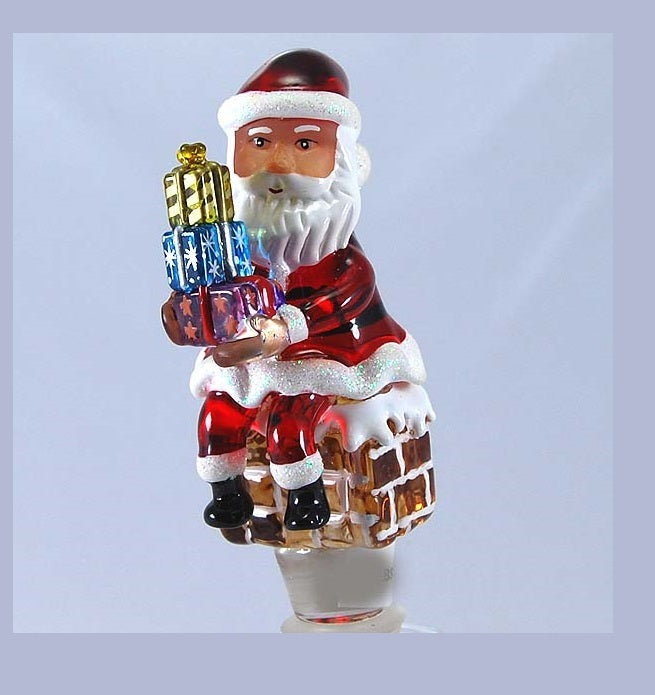 Red Santa w/ presents Hand Crafted Bottle Stopper