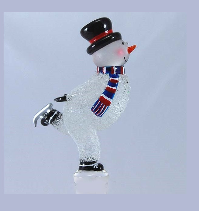 Silver Snowman on skates Hand Crafted Bottle Stopper