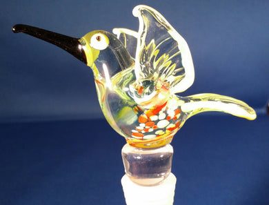 Orange Hummingbird Hand Crafted Bottle Stopper
