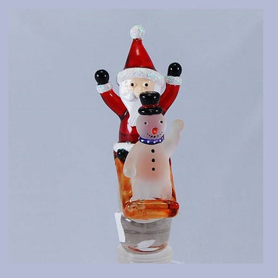 Red Santa on sleigh Hand Crafted Bottle Stopper