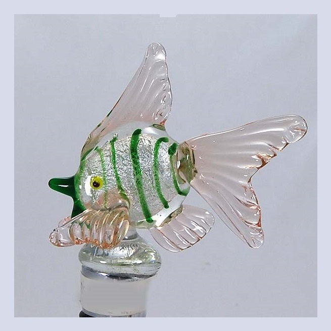 Green Fish w/silver foil Hand Crafted Bottle Stopper
