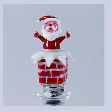 Red Santa in chimney Hand Crafted Bottle Stopper